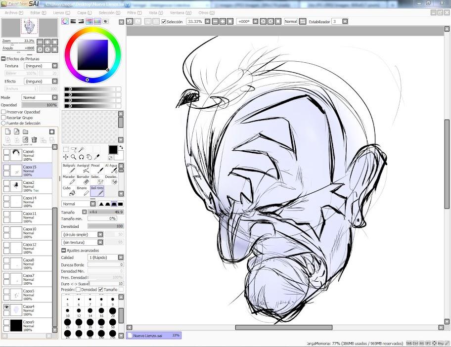una muestra de como trbajo un dibujo de comic sencillo