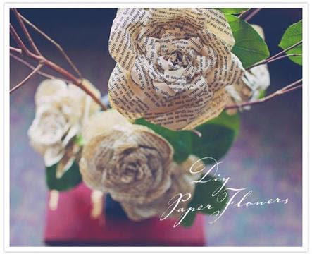 Linda flor feita com jornal