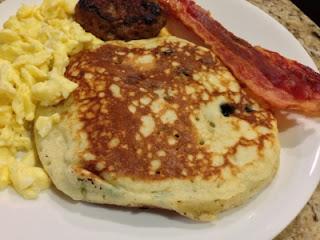 Fluffy Blueberry Pancakes on Breakfast Dinner Plate