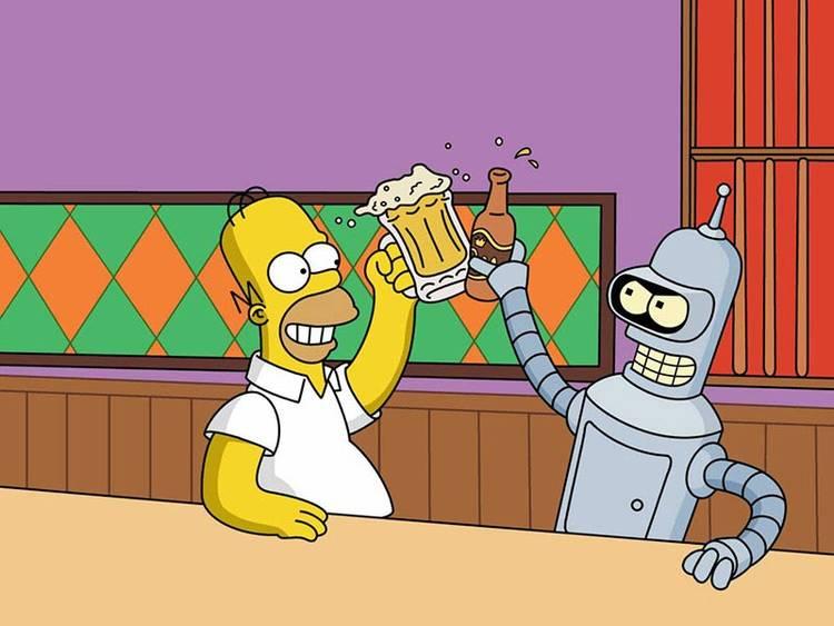 Homer Simpson y Bender, ideados por Matt Groening
