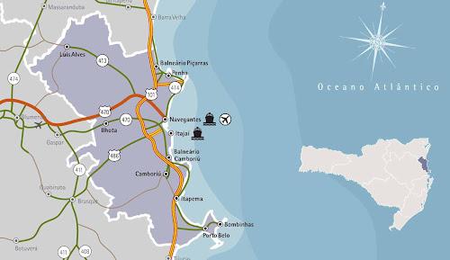 Mapa da região da Costa Verde - Santa Catarina