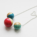 Painted Wooden Beads Neacklace