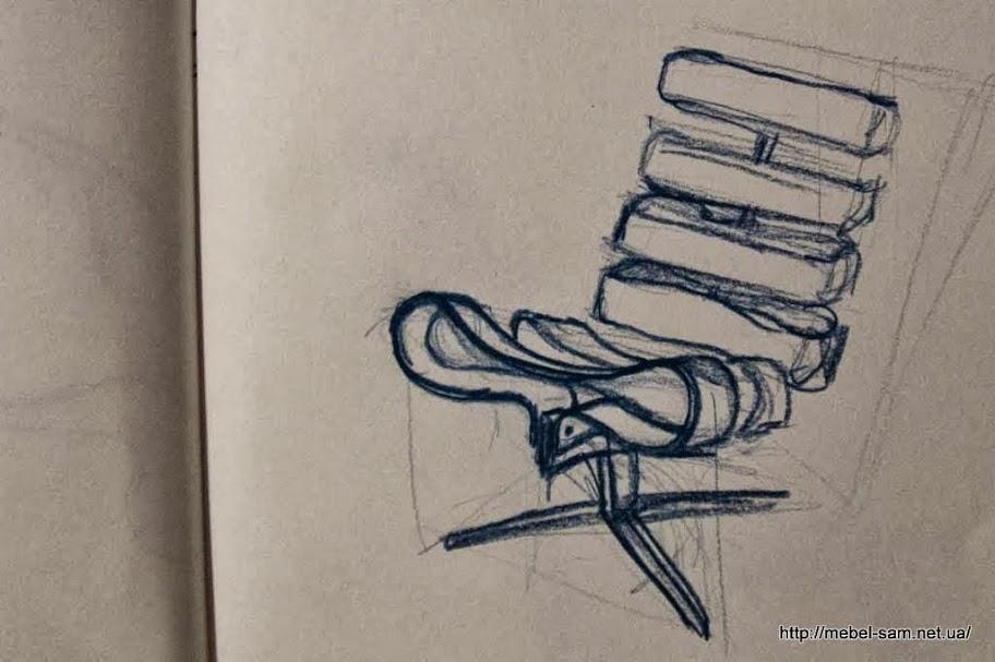 Карандашный набросок будущего фанерного кресла