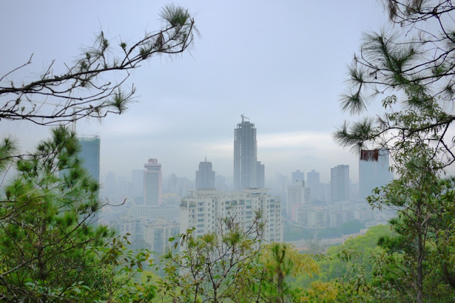 View of Gongbei, Zhuhai, China from a hill