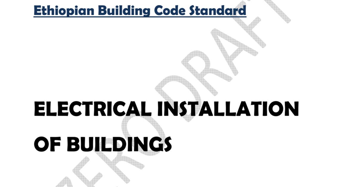 EBCS-10 Ethiopian Building Code Standard Electrical Installation of ...