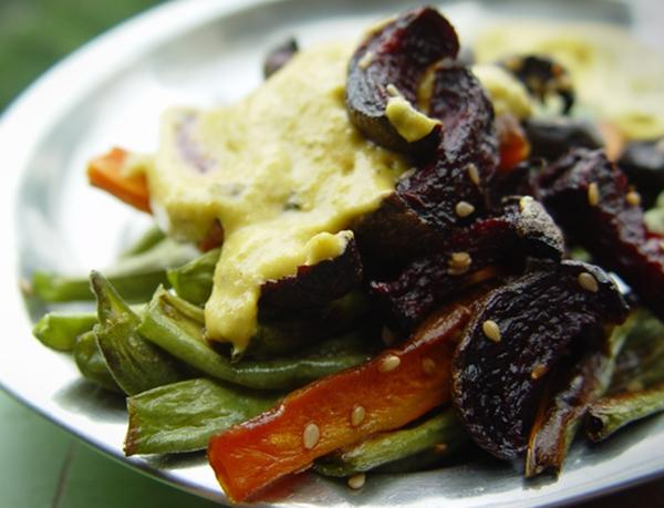 Sesame Encrusted Roasted Veggies with Pumpkin Banana Poppy Seed Dip