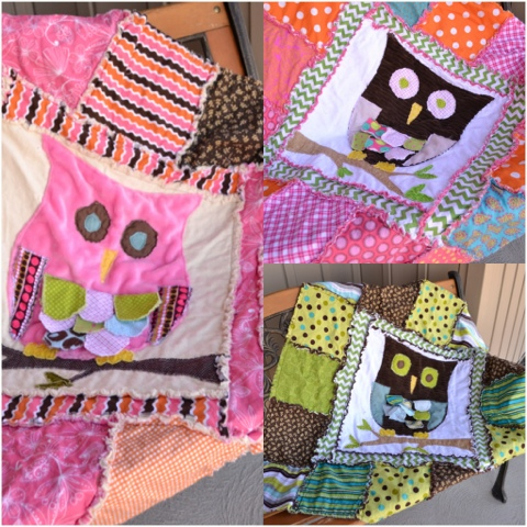 Owl applique rag quilt pattern by avisiontoremember