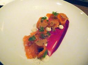 Roe Restaurant Ora Salmon sliced cured salmon, creme fraiche, rye crisp, smoked steelhead roe, beet gazpacho