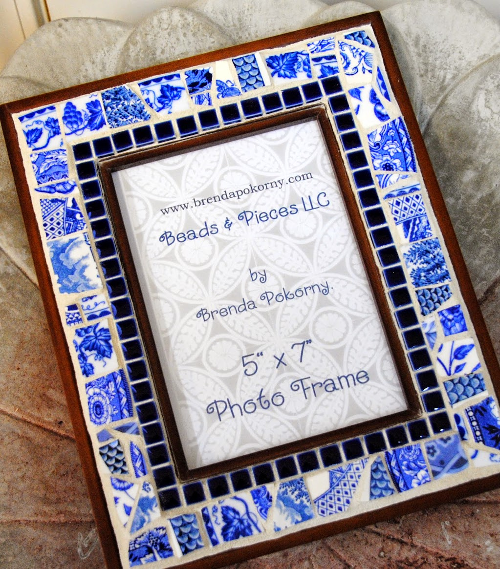 Blue & White Porcelain Mosaic Photo Frame MOF1417