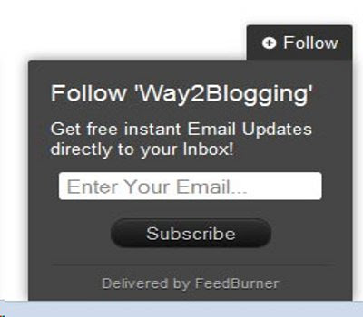 Static Follow By Email Pop Out Blogger Widget