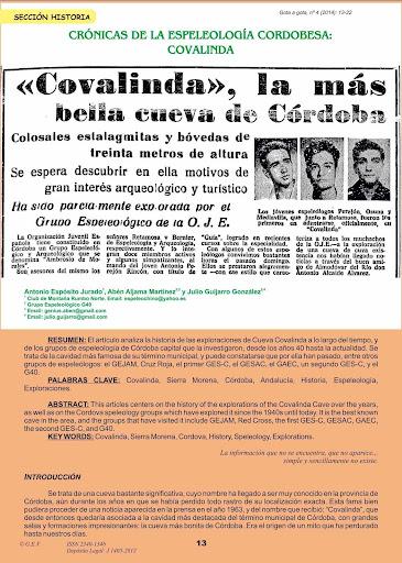 Historia de la Espeleología Cordobesa Covalinda
