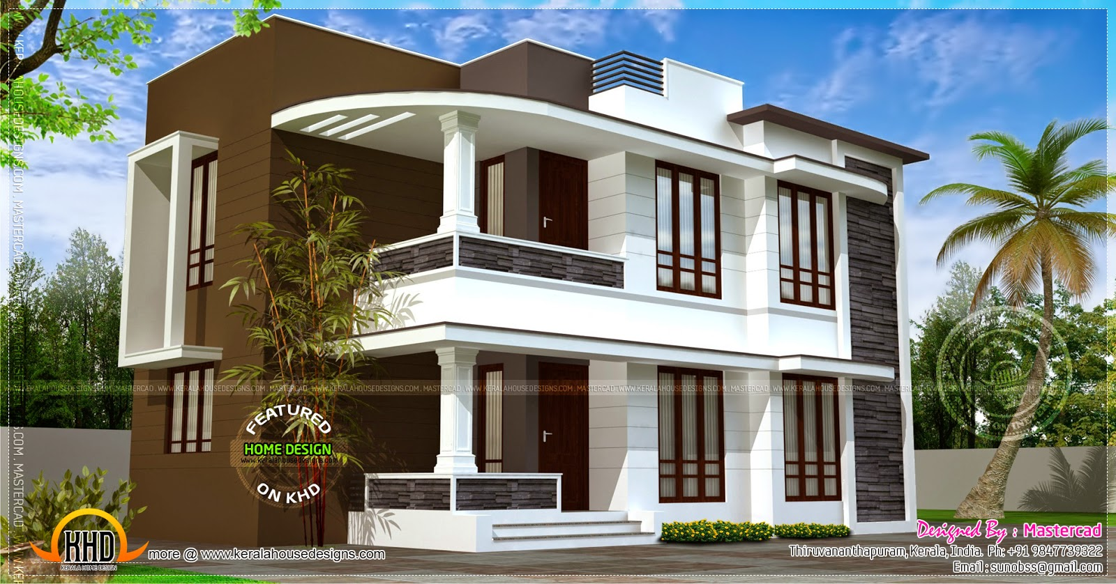 Modern 1500 sq.ft house exterior ~ Indian House Plans