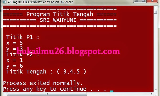 Program C++ - Titik Tengah