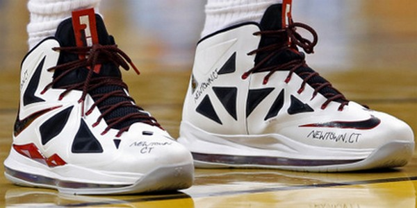 LBJ amp Upper Deck Auction Gameworn Shoes to Support Victims of Newtown