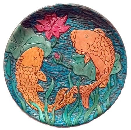 """Himenji Garden"" by Serena Boschert. Carved Clay. $300.00"