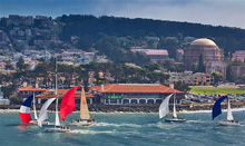 J sailboats- sailing downwind in front of St Francis Yach Club- San Francisco, CA