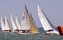 J/80 international one-design sailboat class- sailing off Cowes, England