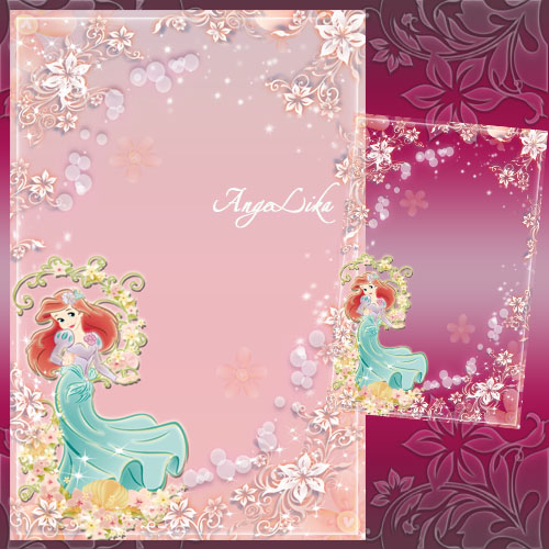 Рамка для девочек с принцессой - Танец цветов