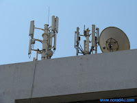 Cell phone masts on an office building in Tel Aviv