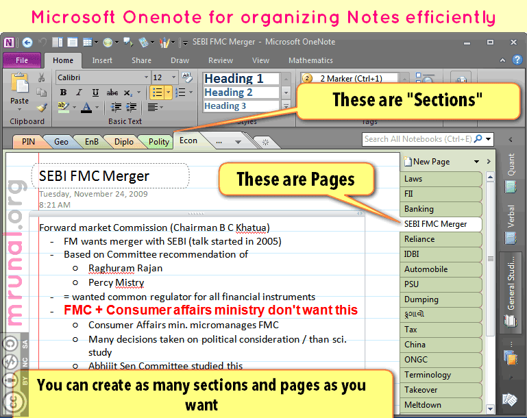 Tech] Using Microsoft Onenote to organize your study-notes: Image to