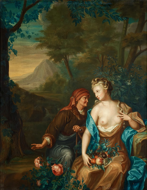 Follower of Willem van Mieris -  Vertumnus and Pomona
