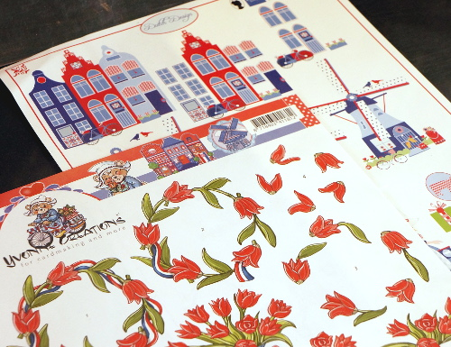 Dutch motives and tulips craft paper