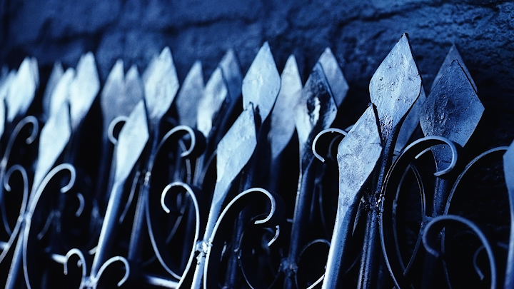wrought iron blue wallpaper