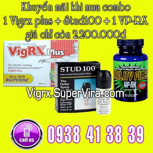 Vigrx Plus khuyến mãi đặc biệt Combo 1 Vigrx Plus + 1 Stud100 + 1 VPRX  giá chỉ còn 2.200.000đ