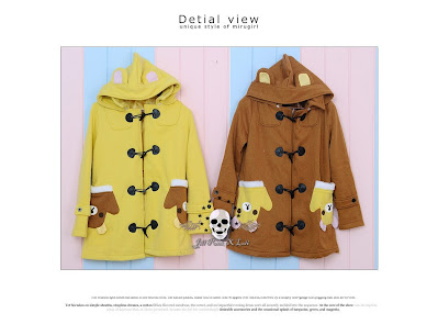 kuning, coklat, Rilakkuma Toggle, fleece, Hoodie, hoodie korea murah, korea, murah, warna, Pre Order, fashion korea, hoodie lucu