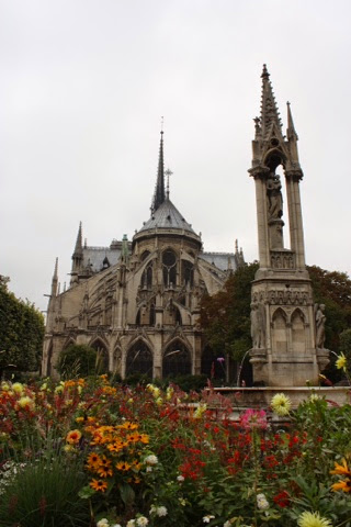 Notre Dame garden in Paris, France