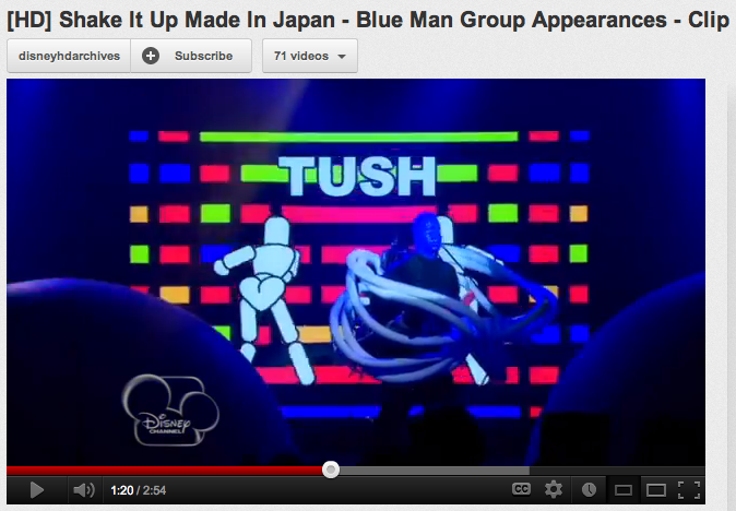 "Heart-shaped ""mounds of mischief"" in The Blue Man Group's stage set design for Shake It Up: Made in Japan"