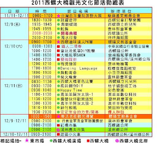 2011西螺大橋觀光文化節 (12月9至11日)