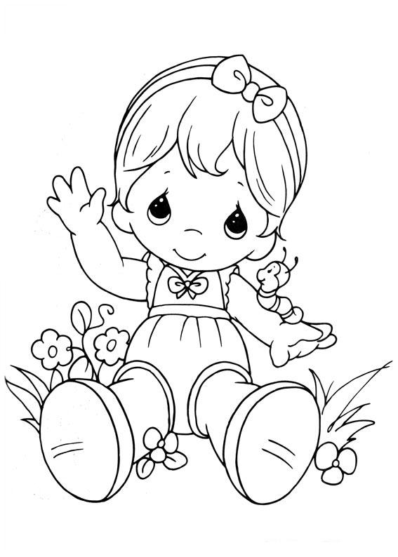 Baby sitting child coloring for Precious moments baby coloring pages