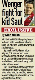 Arsenal hold talks with Spanish whizzkid Saul Niguez, Chelsea also keen [Sunday People]