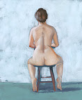 Nude in chair before blue background
