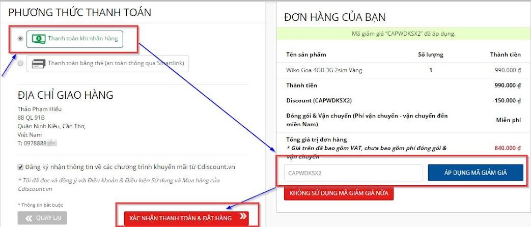 Mã giảm giá 150k trên cdiscount.vn là CAPWDKSX2