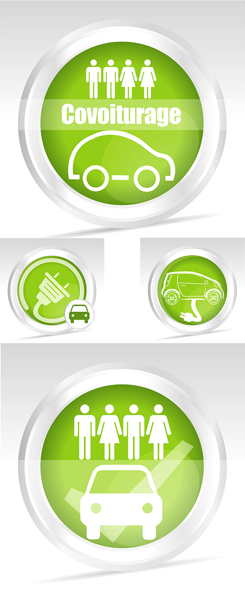 Stock: Environmentally friendly automobile fuel, green emblems, vector