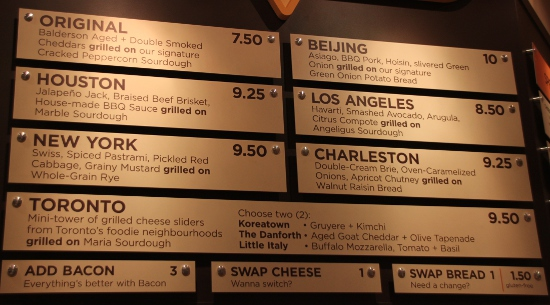 The Cheesewerks menu of grilled cheese sandwiches.