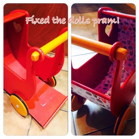 Moover broken wooden toy pram repair - Sugru #wllm14