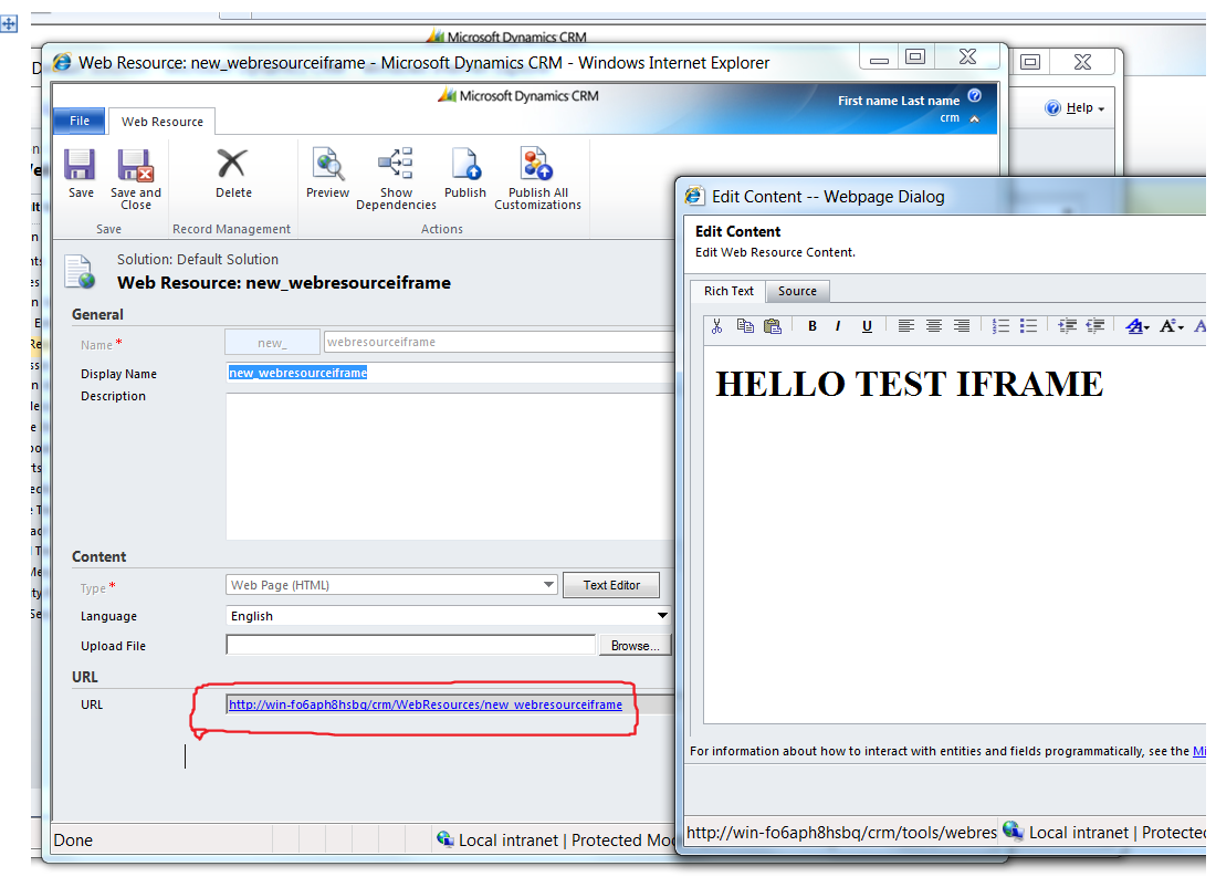 Life and Technology: Set HTML Rendered Within IFrame in CRM 2011 in