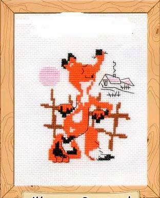 Wolf and hedgecross stitch pattern