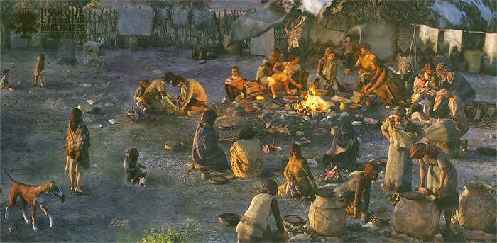 La socialización del hombre neolítico. Escena de una cena como la que debió acontecer en la desembocadura del arroyo Butarque. Fuente: La Tierra Apropiada.