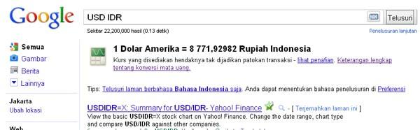 Nilai Tukar Dollar ke Rupiah