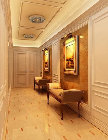 Ghế sofa đơn giản cổ điển được đặt tại hành lang