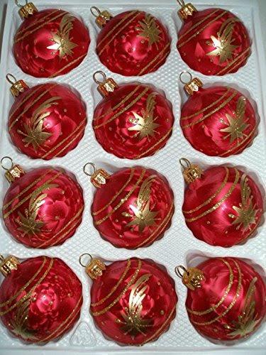 12 Tlg Glas Weihnachtskugeln Set In Ice Rot Gold Komet