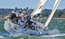 J/105 sailing upwind at Lipton Cup- San Diego