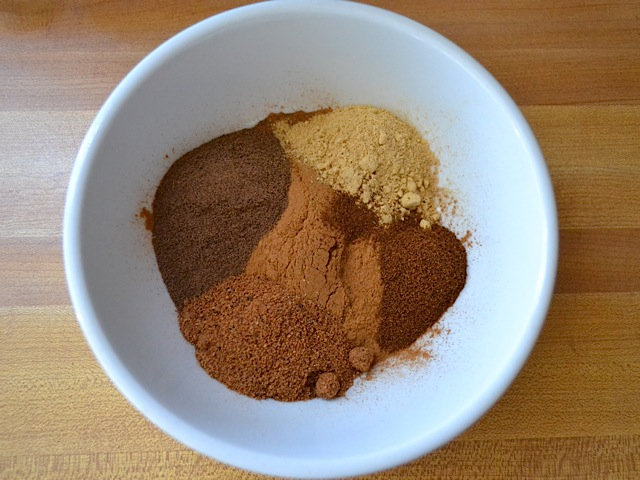 pumpkin pie spice ingredients in a small bowl