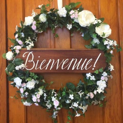 Wedding Wreath Welcome Sign DIY French Bienvenue Colorado Wedding