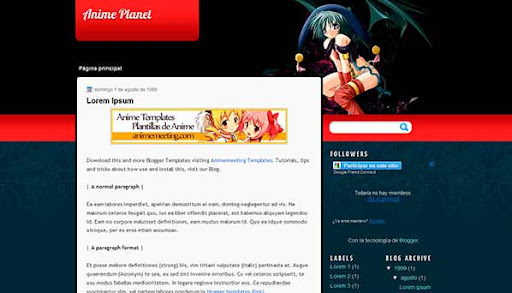 'Anime Plantilla Blogger' Anime Planet Template