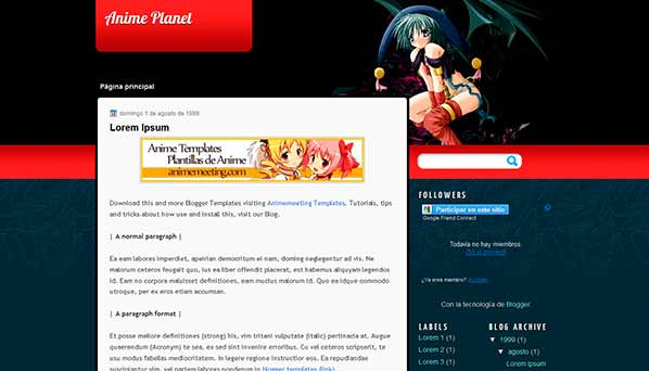 anime blogger template Anime Planet